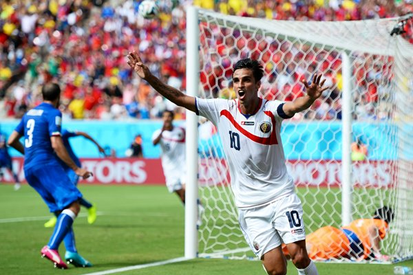 Bryan Ruiz Costa Rica celebrates 2014 World Cup Brazil