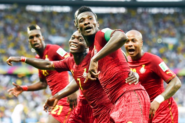 Asamoah Gyan and Ghana celebrates 2014 World Cup