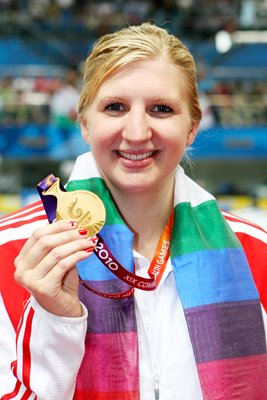 Rebecca Adlington poses with Gold medal