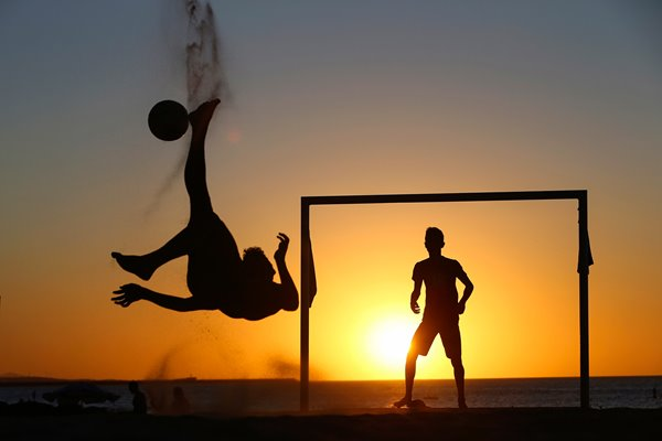 Beach football by sunset 2014 World Cup Brazil
