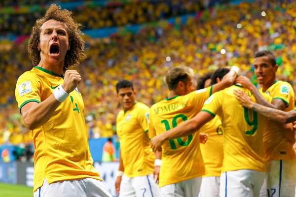 David Luiz and Brazil celebrate 2014 World Cup