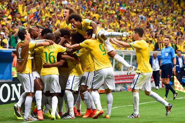 Brazil team celebrate goal 2014 World Cup