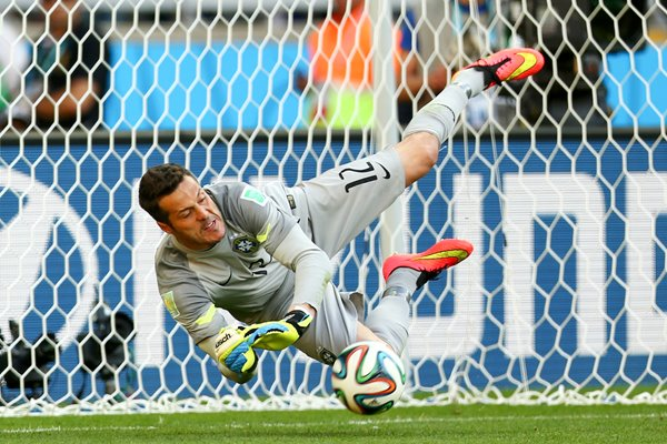 Julio Cesar Brazil saves a penalty 2014 World Cup