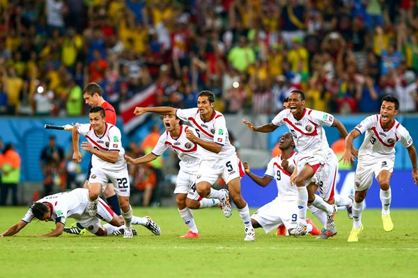 Costa Rica celebrate win 2014 World Cup