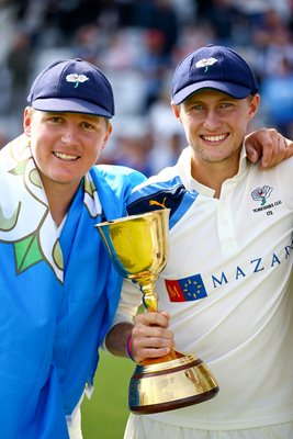 Gary Ballance & Joe Root with Trophy