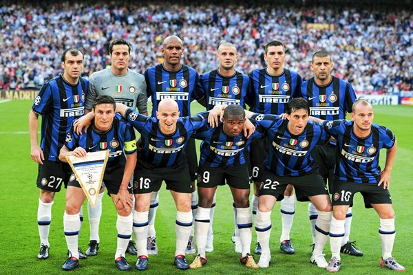 Inter Milan line up for The Champions League Final