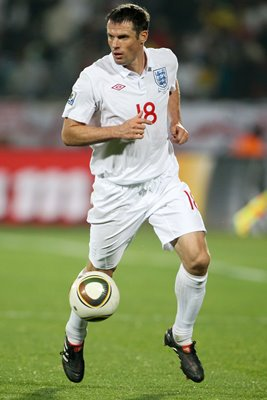 Jamie Carragher on the ball for England v USA