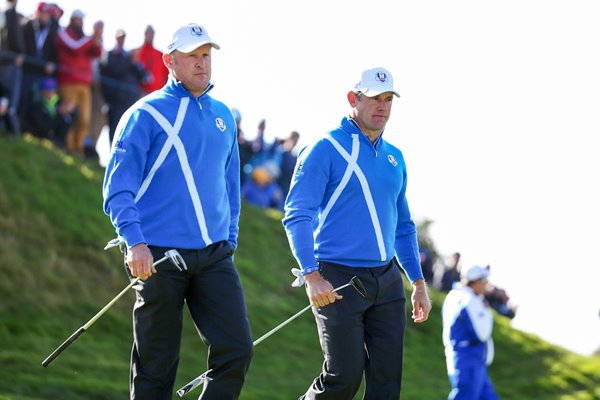 Jamie Donaldson & Lee Westwood 7th green Ryder Cup 2014