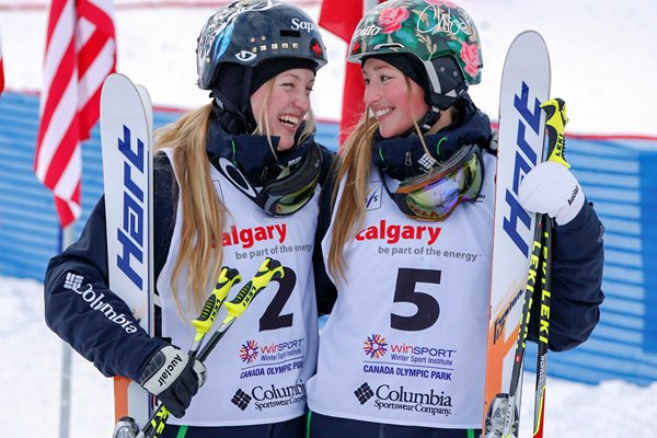 Justine & Chloe Dufour-Lapointe Moguls World Cup Calgary 2014