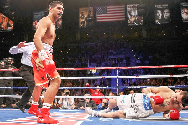 Amir Khan knocks down Marcos Maidana