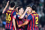 Messi of Barcelona celebrates with teammates Prints