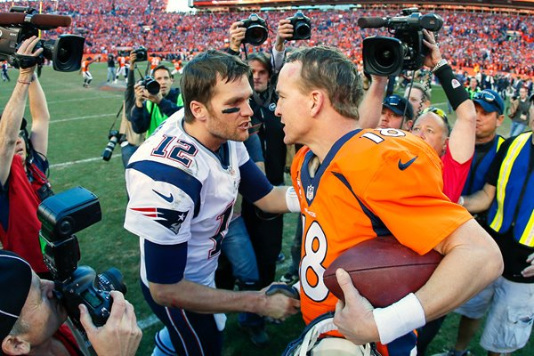 Peyton Manning and Tom Brady AFC Championship 2014