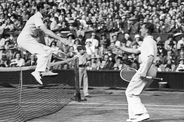 Fred Perry Leaps Net on Wimbledon Victory 1935