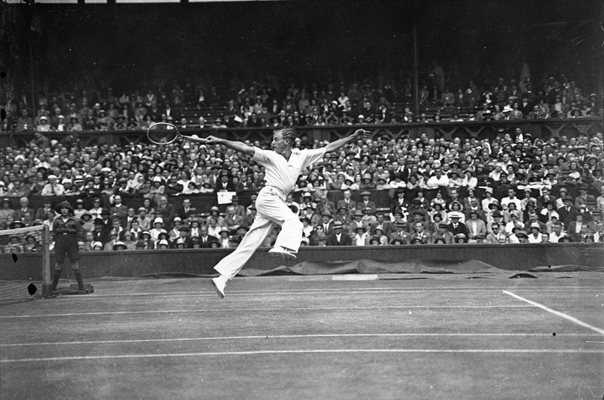 Sidney Wood Leaps at Wimbledon 1931