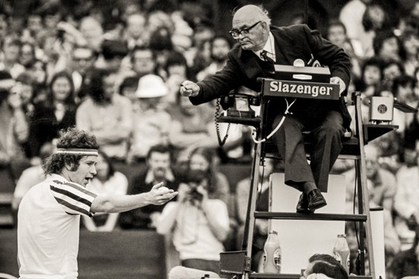 McEnroe Argues with the Umpire at Wimbledon