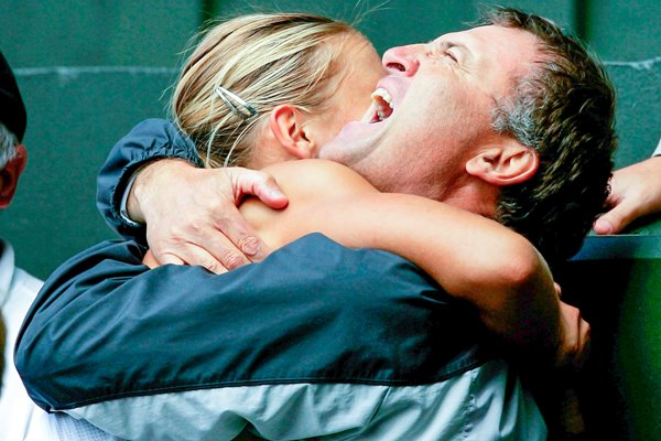 Maria Sharapova Hugs her Father After 2004 Wimbledon Victory