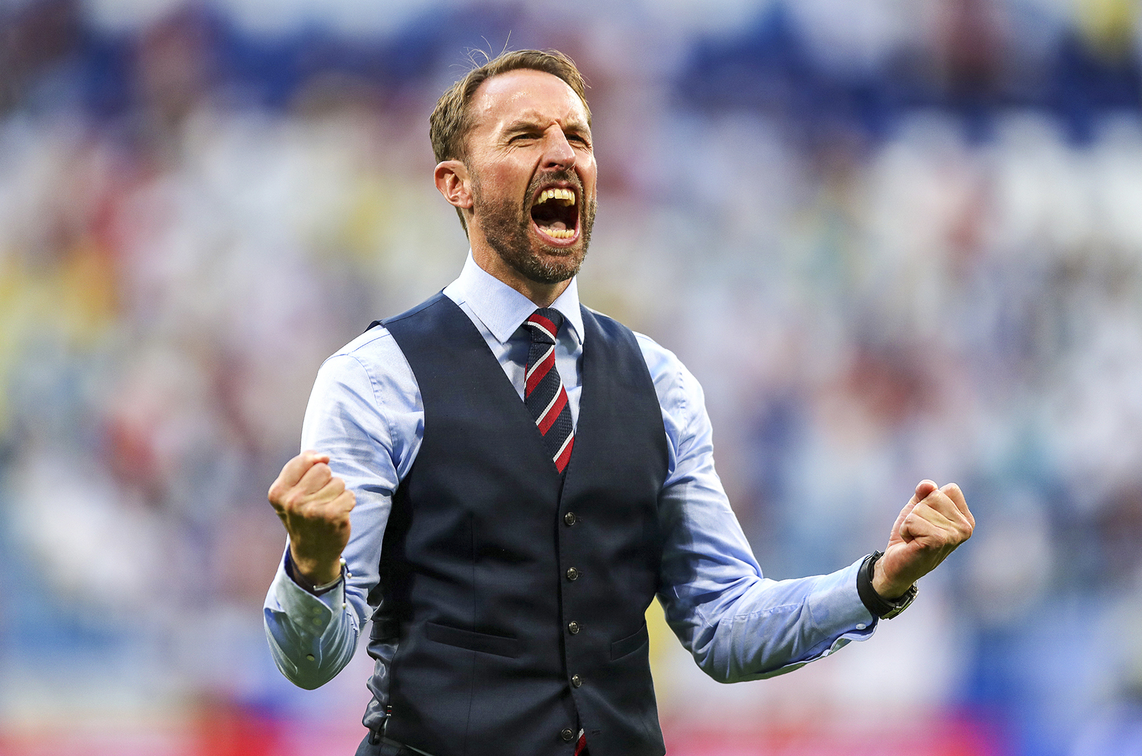 Gareth Southgate England manager celebrates at Russia World Cup